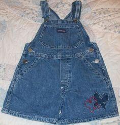 Oshkosh Bib Shorts Size 4T Adjustable Straps Embroidered Butterfly Shortalls #OshKoshBgosh #Shorts #Everyday