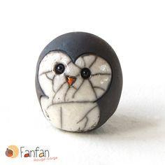 Petit pingouin rond en céramique Raku : Accessoires de maison par fanfan-rouge-gorge