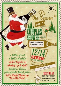 Vintage Dapper Santa Couples Shower Invitation by InvitingParties, $15.99