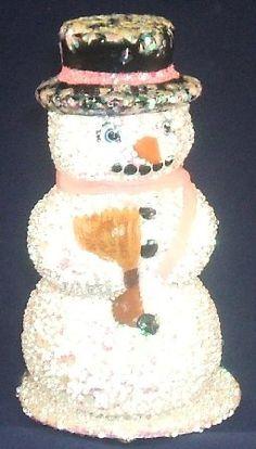 Female Beaded Snowman INO Schaller Paper Mache German Candy Container