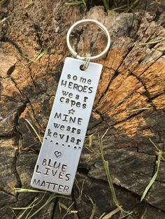 Hey, I found this really awesome Etsy listing at https://www.etsy.com/listing/453215782/hand-stamped-keychain-blue-lives-matter