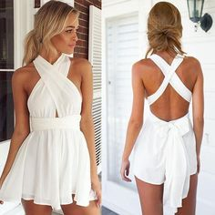Product Description: Women Fashion Casual Sexy Back Cross Strap Deep V Neck Sleeveless Backless High Waist Solid Chiffon Jumpsuit. Material: Chiffon, Polyester, 5 Colors available: White, Orange, Ligh Mode Outfits, Fashion Outfits, Fashion Top, Cheap Fashion, Stylish Outfits, Older Women Fashion, Womens Fashion, Cute Rompers, Grunge