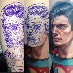 Nikko Hurtado superman portrait tattoo