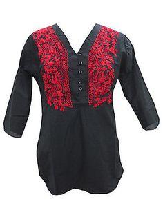 BOHO-WOMEN-TUNIC-ETHNIC-HANDMADE-EMBROIDERED-BUTTON-FRONT-BLACK-KURTI-TOP-S  http://stores.ebay.com/mogulgallery