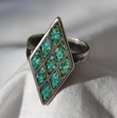 Old Pawn Mosaic Turquoise in Sterling Silver by ChicMouseVintage
