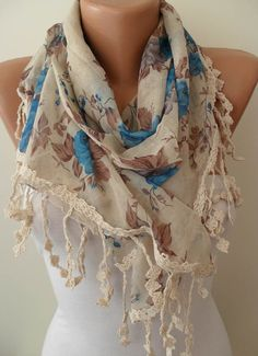 Beige  Brown and Blue Scarf with Trim Edge by SwedishShop on Etsy, $16.90