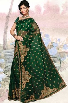Hunter Green Organza Silk Embroidered Party and Festival Saree