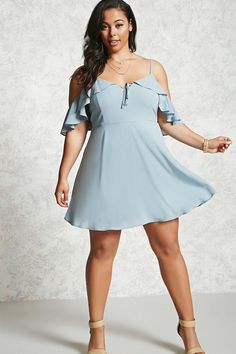 Dusty Blue Forever 21 Plus Size Open-Shoulder Dress | Forever 21 | spring | summer | easy summer outfits | pastel blue | style | fashion | ruffle | trend