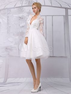 Tulle Knee-Length Spaghtti A-line Wedding Dress With Long-sleeves Lace Wrap-No.3