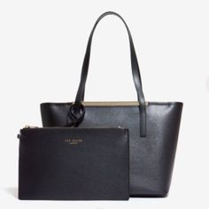 100% Authentic Ted Baker Small leather shopper Price Firm: Brand-new Ted Baker HAILEYZ Small leather shopper bag: Color Black: Ted Baker accessories collection Ted Baker branding Matching internal wallet Dimensions: H23cm x W36.5cm x D9cm Handle drop 23cm Fabric Content: 100% Bovine Leather Ted Baker Bags