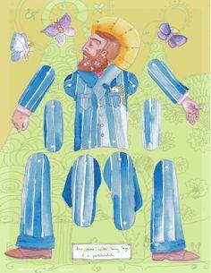 "articulated paper dolls   ... pocket watch"" an original illustration, articulated paper doll on Etsy"