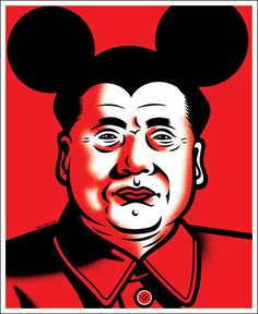 Chairman Mao with Micky Mouse Ears, POCKO | Dr Alderete, pop art, graphic illustration.