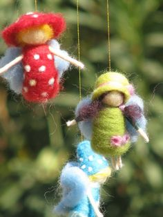 $82 A rainbow fairies mobile needle felted by Made4uByMagic on Etsy