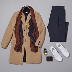 SAINT LAURENT Felt Coat / OFFICINE GENERALE Turtleneck Sweater / LOVAT & GREEN Striped Twill Scarf / LANVIN Worsted Wide-Leg Trousers / ADIDAS Men's Logo-Stamped Stan Smith Sneakers / BARNEYS NEW YORK Alligator Billfold / FRÉDÉRIC MALLE Cologne Indélébile Spray