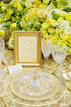 Pretty gold and yellow place setting by Jordan Payne Events with china from Posh Couture Rentals. Photo by Celina Gomez Photography. #wedding #placesetting #gold