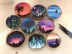 paintings on wood art diy art easy art ideas art painted art projects Stone Painting, Painting On Wood, Wood Paintings, Acrylic Paint On Wood, Rock Painting, Wood Slice Crafts, Wooden Box Crafts, Wood Burning Art, Wood Ornaments