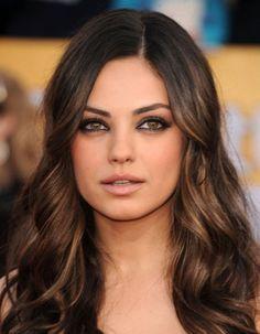 celebrities brunette long hair highlight - Google Search