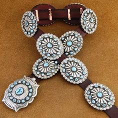 Old Pawn Style Turquoise Silver Navajo Concho Belt Blackgoat, A Certificate of Authenticity has been included with this item. http://www.nativeamericanstuff.net/Native%20American%20Concho%20Belts.htm