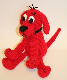 """Now you can make your own crochet Clifford doll, inspired by Clifford from Clifford the Big Red Dog. This doll is so much fun! He is just right to cuddle and play with. Doll is about 10"""" tall sitting if using same yarn as called for in pattern."""