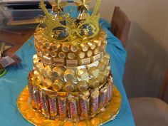 Golden Birthday Candy Cake Empty Christmas Cookie Tins Wrapped In Dollar Store Foil Paper With Hot Glued On Base Is A Piece Of Cardboard