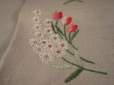 Vintage Hand Embroidered Taupe Linen Decorative Towel