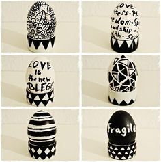 DIY Ostereier in schwarz/Weiß  Easter Eggs black and white Look!
