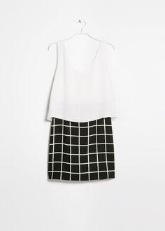 Contrast bodice dress | Mango