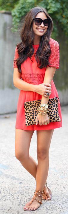 Topshop Red Taylor Crochet Detail Playsuit by With Love From Kat