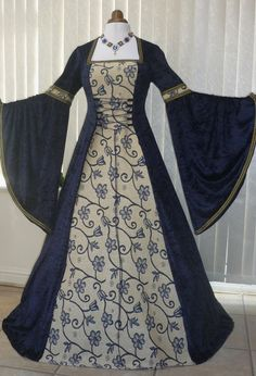 Renaissance Medieval Wedding Dress Navy blue Tapestry, Medieval Dresses and Gowns for Weddings, Handfasting Ceremonies and other Special Occasions Medieval Gown, Medieval Wedding, Medieval Costume, Renaissance Clothing, Medieval Fashion, Renaissance Gown, Gothic Wedding, Old Dresses, Pretty Dresses