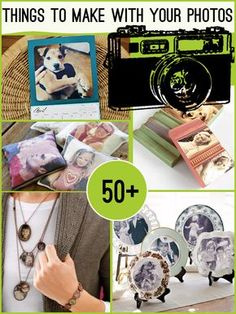 Over 50 Projects to make from your photos- great ideas for gifts or holiday cards!