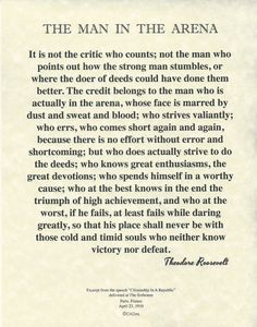 """The Man In The Arena Theodore Roosevelt Quote on Archival Fine Parchment 8.5""""x11"""" (21x28cm)"""