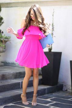 Pink off the shoulder dress.