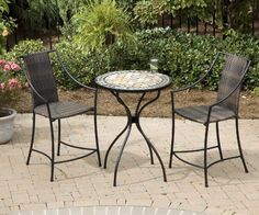Home Styles 5605-359 3-Piece Bistro Set with Table and Laguna Stools by Home Styles. $412.00. This 3-piece bistro set includes high top bistro table and two laguna bistro stools. The table measures 28 inch-diameter by 30-inch height; stool measures 23-1/2-inch width by 22-1/2-inch depth by 42-inch height. The cabriole designed base is constructed of powder coated steel in a black finish. This bistro high top table features a table top constructed of natural octagon marble tiles ...