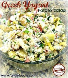 Greek Yogurt Potato Salad: cool twist on a classic. Completely with artichokes!