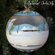 Bombka ręcznie malowana 12/32/274 Christmas Time, Christmas Bulbs, Christmas Decorations, Xmas, Holiday Decor, Glass Christmas Balls, Painted Ornaments, Snow Globes, Crafts