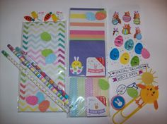 Spring/Easter themed goody bag filled with stationary, planner and pen pal supplies. Etsy asprinkleoflovely