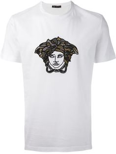 Shop Versace embroidered Medusa T-shirt in Elite from the world's best independent boutiques at farfetch.com. Over 1000 designers from 300 boutiques in one website.