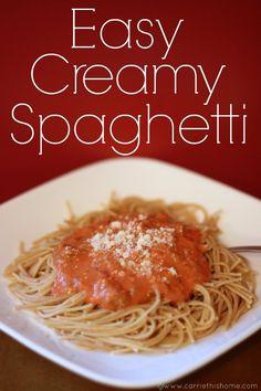 Easy Creamy Spaghetti--healthy and delicious!