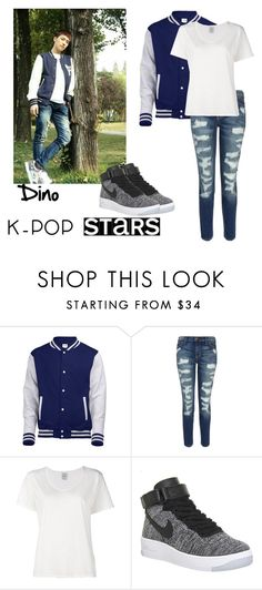 """""""Dino of Seventeen"""" by ms-burgundy ❤ liked on Polyvore featuring Current/Elliott, Visvim, NIKE and kpop"""