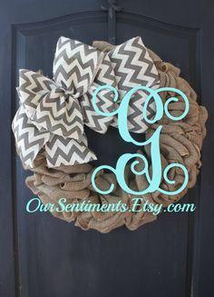 Burlap and chevron wreath -  Burlap Wreaths for door - shabby chic door decor - Summer Wreath for door -  Home Decor -Gift idea by OurSentiments on Etsy https://www.etsy.com/listing/229725879/burlap-and-chevron-wreath-burlap-wreaths