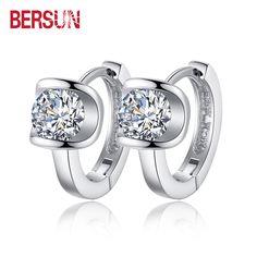 Bersun 2016 New 925 Sterling Silver Women Small Earrings Fashion Fine Jewelry Angel Kiss Luxury Crystal Stud…