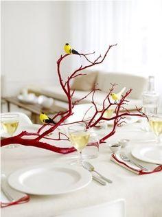 red branch center piece. more tablescape ideas