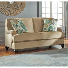 Ashley Lochian Chenille Loveseat in Bisque $669.99 69""