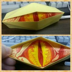 ***just pic**One Hot Minute Library Crafts for Teens Hobbit LOTR Desolation of Smaug crafts, blinking dragon eye, dragon eye origami Teen Craft