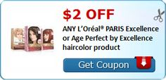 New #Coupon!  $2.00 OFF ANY L'Oréal® PARIS Excellence or Age Perfect by Excellence haircolor product! - http://www.stacyssavings.com/new-coupon-2-00-off-any-loreal-paris-excellence-or-age-perfect-by-excellence-haircolor-product/