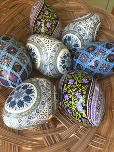 A few eggs ready to go to their new homes!  #sojeo #pysankybysojeo #novascotia #ceruleanblue #pysanky #ukrainianeasteregg #batikeggart #eastereggs #littlepurpleflowers