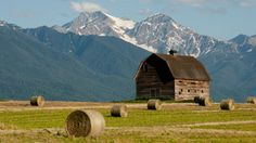 Dupuis barn with Mission Mountains in the background, northwestern Montana