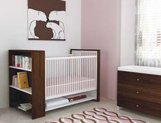 Designing a nursery but short on space?  You'll love this modern crib/bookcase combo!