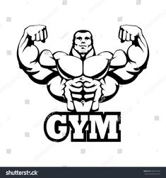 Black Contour Outline, On White Background. Figure Drawing Reference, Animation Reference, Dumbbell Tattoo, Bodybuilding Logo, Weightlifting Shirts, Aztecas Art, Huge Biceps, Workout Pics, Mma Gym