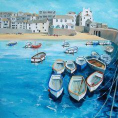 St Ives High Tide by Judi Trevorrow St Ives Cornwall, St Just, Nautical Art, Naive Art, Seascape Paintings, Art For Art Sake, Watercolor Landscape, Unique Art, Folk Art